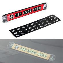 5 Colors Luminous Car Temporary Parking Card with Suckers Car Sticker Magnetic Puzzle Telephone Number Plates Car Styling(China)