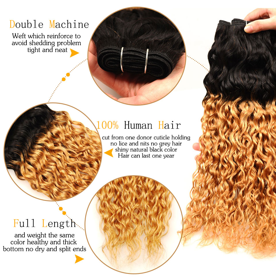 Pinshair Ombre Brazilian Water Wave Hair 1B 27 3 Bundles With Closure Ombre Wet Wavy Human Hair Extension With Closure Non-remy (7)