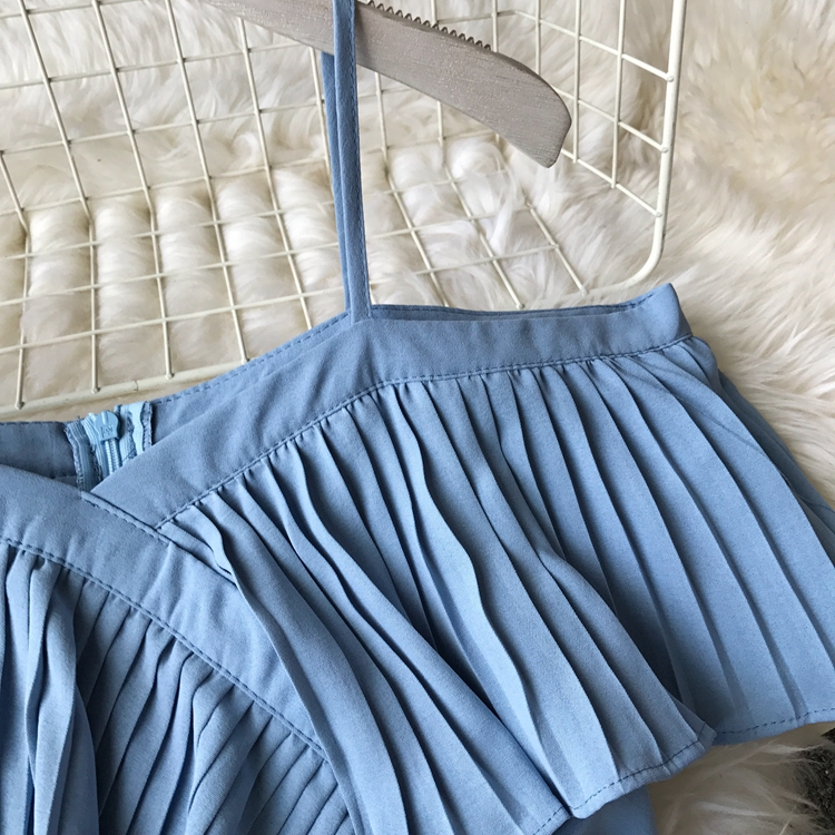 2019 Spring Women Chiffon Pleated Braces Sling Spaghetti Strap Goffer Long Dress Ladies Ruffles Empire Drapped Swing Slip Dress 185