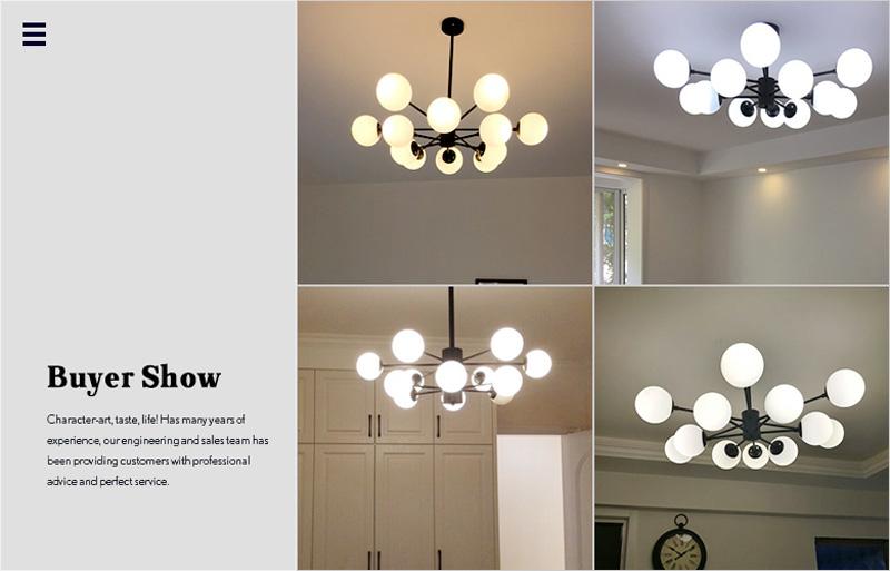 Horsten Nordic Creative Magic Bean Pendant Lights 6812 Heads Glass Ball Pendant Lamp For Living Dining Room Cafe Restaurant E27 (14)