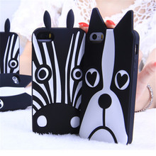 Free shipping New Marc.Jacobs Cute Cartoon Animal Design Love Dog/Zebra Soft Silicone Phone Cases For Iphone 7 4 5s se 6 6S PLUS
