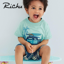 Richu children clothes china kids boys clothes 6 years old summer short clothing sets classic suit for boy toddler child suits(China)