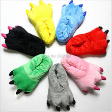 Cheap Dinosaur Character Lounge Unisex Pajamas cosplay Costume Shoes Cartoon Animal Paw Claw Home Warm Indoor Winter Slippers