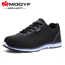 MODYF Men Steel Toe 일 Safety Shoes 경량 숨 반사 캐주얼 Sneaker(China)