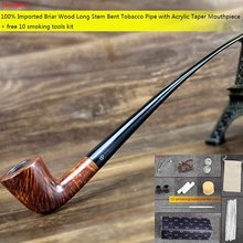 NewBee Free 10 Smoking Tools Kit Long Stem Imported Briar Wood 9mm Filter Bent Tobacco Pipe for Reading Masculine Gift aa0027(China)