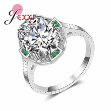 JEXXI Gorgeous White & Blue Round Cubic Zircon Jewelry 925 Stering Silver Retro Anillos for Women Girls Engagement Rings(China)