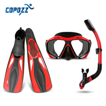 3 in 1 Snorkels Scuba Diving Mask Goggles Glasses Diving Swimming Fins Flippers Set