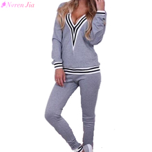 2017 New Women Tracksuit Brand Hoodies Track Suit Deep V Neck Sexy Sweatshirt+Pant Sets Female Striped Elastic Sports Suits