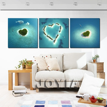 Modern Seascape Wall Paintings Blue Sea 3 Piece Heart Shaped Island Canvas Picture For Living Room Home Decoration Art No Frame(China)