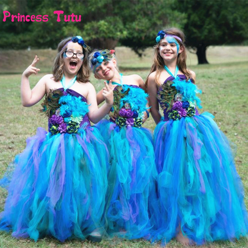 Baby Girls Pageant Feathers Peacock Dress Children Wedding Gowns Pretty Tutu Dress Girl Kids Party Birthday Evening Tulle Dress<br>