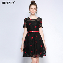 MUSENDA Plus Size Women See Through Embroidery Belt Short Black Dress 2017 Summer Sundress Lady Casual Fashion Sexy Dresses