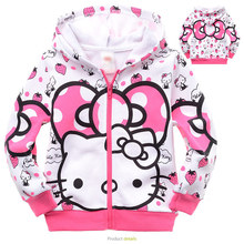 2017 Retail Hello Kitty Boys and girls cartoon T shirts cotton long sleeve hoodie kids fashion sweater tops children outerwear