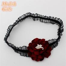 10pcs/lot Real Silk Floral Hair Bands Elastic Black Lace Band Girls Wine Red Italy Material Hairband Pearl Flower Headband