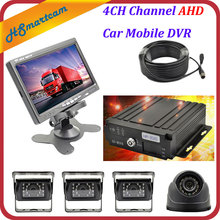 "4CH Channel AHD Car Mobile DVR SD Realtime Video Recorder + 4 AHD Camera DVR Kits+ 7"" LCD Screen Set For Auto Truck Bus Vehicle(China)"
