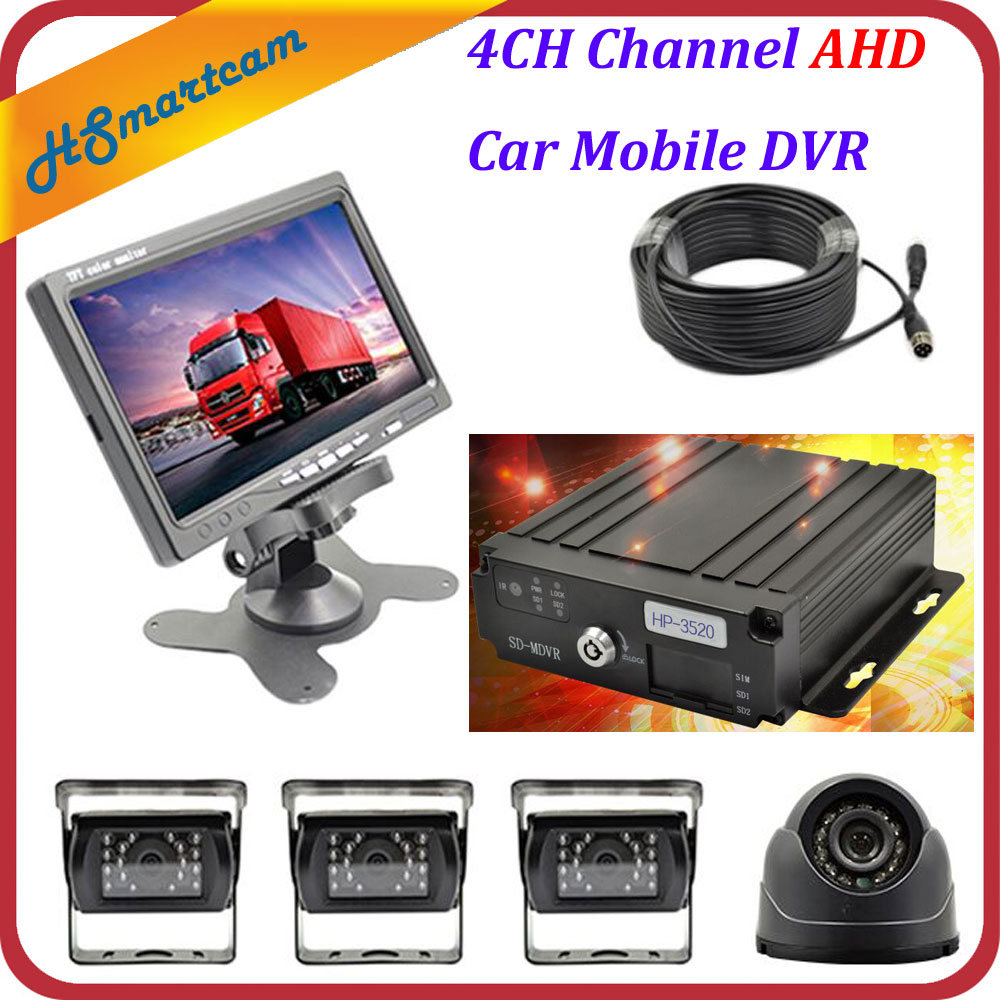 "4CH Channel AHD Car Mobile DVR SD Realtime Video Recorder + 4 AHD Camera 1200TVL+ 7"" LCD Screen Set For Auto Truck Bus Vehicle(China (Mainland))"