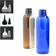 60ml empty plastic bottle, clear/blue/amber pet bottle with transparent/black/white Twist Top Caps pointed mouth top cap X 5