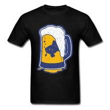 82b3580d Novelty 2018 Big Size Beer Glass Print Men T-shirt Vintage Cartoon Design  Black T