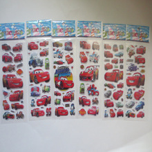 6pcs/lot Red Cars Cartoon Stickers for Boys and Girls Classic Toys 3D Stickers Scrapbook Children Gift