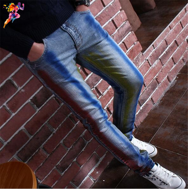 Brand denim jeans men Casual striped paint printed hand painted vogue jeans fashion slim fit stretch mens jeans trousersОдежда и ак�е��уары<br><br><br>Aliexpress