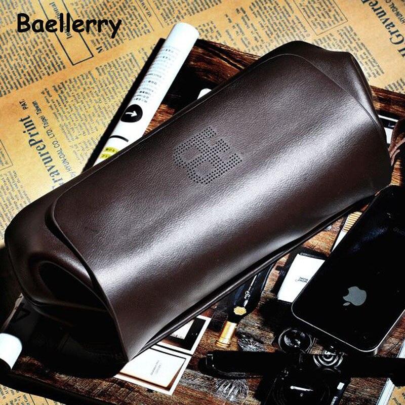 2017 New Bucket Genuine Leather Clutch Bag Mens Punk Style Soft Men Wallet Bags Design Cowhide Handbag Long Wallets Purse Bag<br>