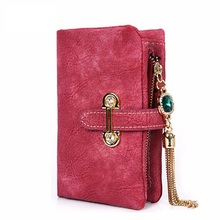 Hot Female Fashion Zipper Small Wallet Soft Matte Suede tassel pendant women's wallet women purses coin purse credit Card Holder(China)