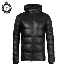 2016COUTUDI New Men Winter Parka Jacket Solid Black Waterproof Leather Jacket Coats  Male Cotton-padded Thick Warm Mens Clothing