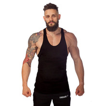 2016  New Mens Singlets Cotton Sleeveless Vest Stringer Bodybuilding Clothing Solid Color Can Make Your Logo TY0005