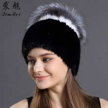 Women Winter Hats Real Mink Fur With Fox Fur Flowers Hats Caps Warm Russian New Fashion Lined Knitting Genuine Fur Beanie Hat