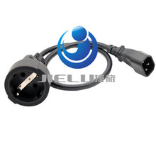 IEC 320 C14 Male to Europe Schuko Female Socket Short Adapter Cable For UPS PDU About 30CM