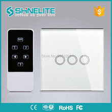 Shinelite,UK Model 3Gang remote touch Wall Switch,smart home Automation,broadlink RM PRO,Luxury White Glass