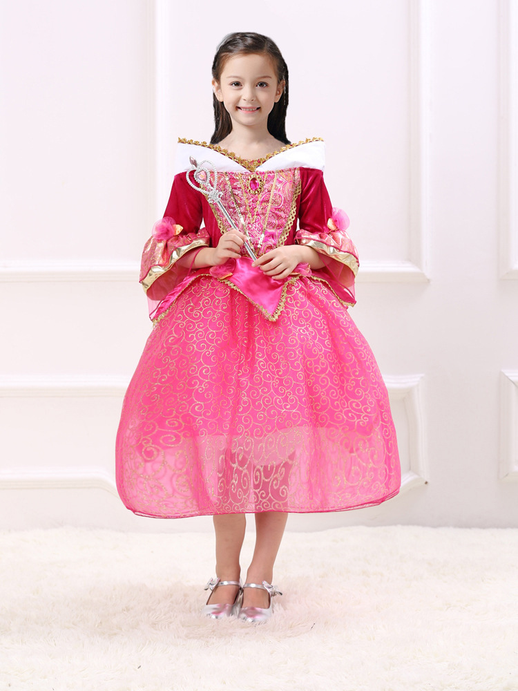 Fashion three quarter sleeve gold lace christmas halloween princess costume 2017 princess girls party dress kids size 12<br><br>Aliexpress