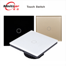 MiniTiger D601 EU + UK  + Single Fire + Direct Replacement, Standard  Touch Switch 1 Gang 1 Way Switch Crystal Glass Panel