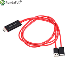 Rondaful HD Mirroring Video Cable Smart PnP Lightning to HDMI Cable Supports 1080P Connector TV Adapter for iPhone Samsung 1m
