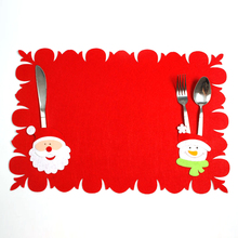 Christmas Placemats Christmas Table Mat Dual-use Non-woven Fabric Tableware Bag Table Decoration Random Style(China)