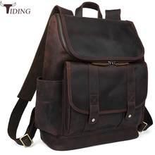 fb108c9171 tiding Luxury Cow Leather School Laptop Backpack For Men Rucksack Retro  Solid Overnight Weekender Bag Dark Brown Travel Bags