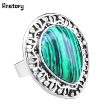Vintage Look Tibet Alloy Antique Silver Plated Heart Malachite Hollow Flower Adjustable Rings TR311