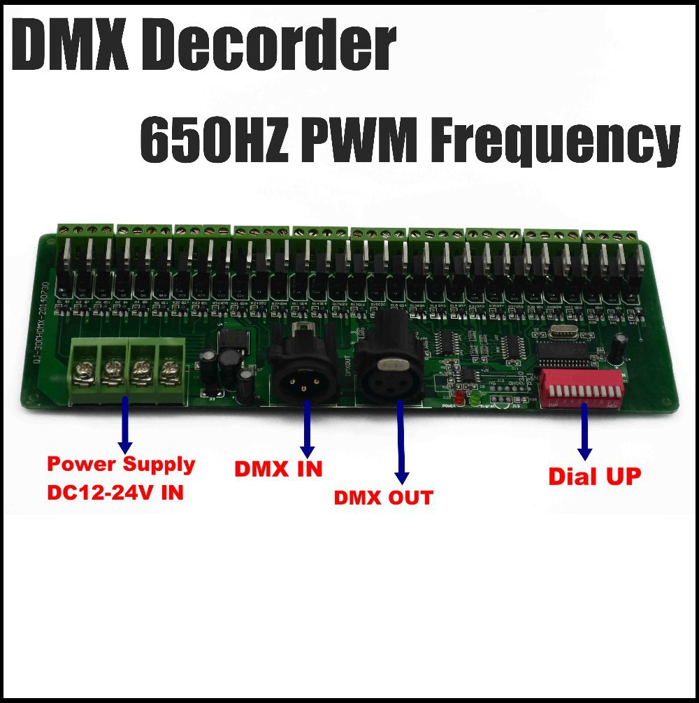 30CH DMX 650MHZ PWM decoder, DMX controller, DC12V-24V input easy setting DMX RGB controller<br>