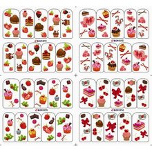 4 PACKS / LOT CAKE FRUIT DESSERT BOW TIE STRAWBERRY NAIL TATTOOS STICKER WATER DECAL NAIL ART BOP011-014(China)