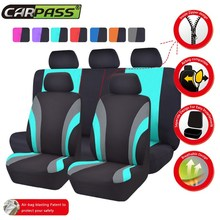 Car-pass New Colorful Sports Series Car Seat Covers Universal Car Styling Full Set Interior Car Airbag Compatible Seat Support