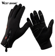 WEST BIKING Thermal Wind Stopper Sport Gloves Ciclismo Bicicleta Luvas Bike Cycle Guantes Men Winter Warm Bicycle Cycling Gloves(China)