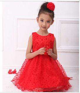 Hot Sale Summer Childldren Girls Lace Ball Gown Dresses Fashion Princess Dress Kids Girl Red Wedding Dress for Performances<br>