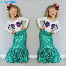 3-7y Autumn Toddler Children's Girls Mermaid Tail Costume Clothing Sets Long Sleeve Shell T Shirt+dress Kids Outfits Christmas