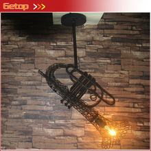 ZX Retro Wrought Iron Industrial LED Pendant Lamp Creative Sachs Shape LED Artistic Lighting Fixture Cafe Bar Restaurant Lamp(China)