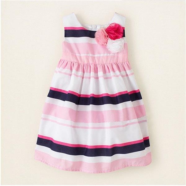Kids Baby Casual Sleeveless Stripes Dress Toddler Girl Floral Sundress<br><br>Aliexpress