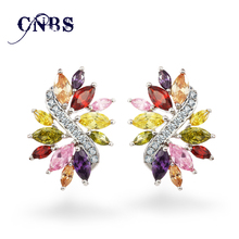 Design Marquise cut AAA+ Cubic Zircon Artistic Cluster Flower Earring 14 colors E10008(China)