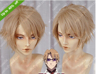 Free Shipping + caps  Heat Anime K Project Figures handsome  Kusanagi Izumo Brown Blonde Short Straight Hair Cosplay Anime Wigs<br><br>Aliexpress