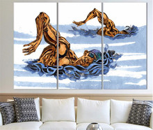 Modern Abstract Art Decoration picture Painting Swimming Race On Canvas Sport Painting Wall Art picture(China)
