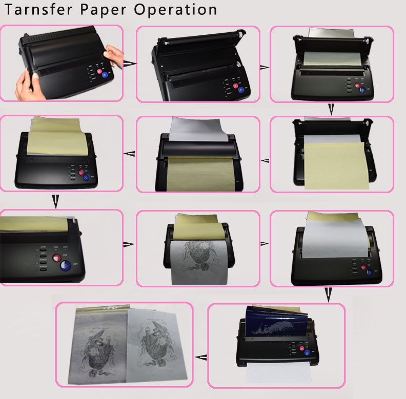Maquiagem Tattoo copy machine lowest price A4 Transfer Paper black Tattoo copier thermal stencil copy Transfer Machine 12