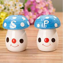 Free Shipping  20pcs=10sets  Fashion Blue  Mushroom Wedding Luxury Salt And Pepper Shakers Gifts