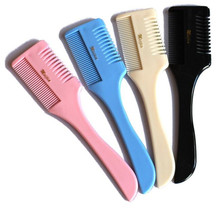 1 Pc Good Quality Professional Hair Razor Comb Black Handle Hair Razor Cutting Thinning Comb Home DIY Trimmer Inside with Blades